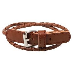Jewelry - PREVIEW! Brown Leather Belt Buckle Bangle Bracelet